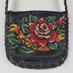 Isabella Fiore Crossbody Bag Black Leather Love